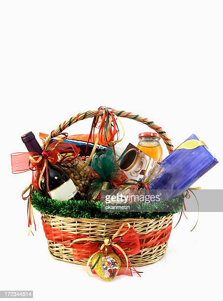 christmas gift basket - basket stock photos and pictures