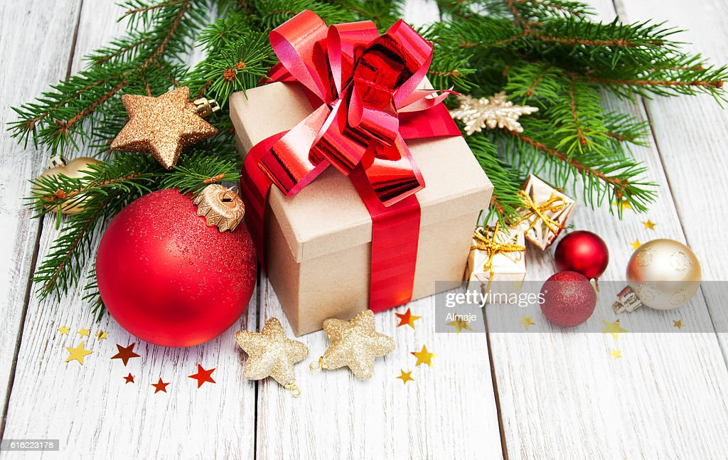 christmas gift box and decorations : Stock Photo