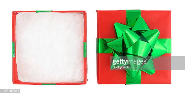 christmas gift box (with clipping paths) - high section stock pictures, royalty-free photos & images