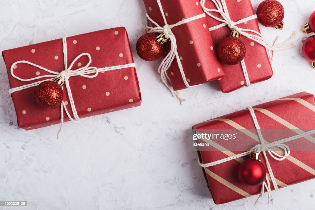 Christmas gift boxes : Stock Photo