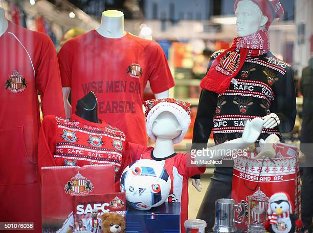 Christmas gift lineup are displayed at the official merchandise prior to the Barclays Premier League match between Sunderland and Watford at the...
