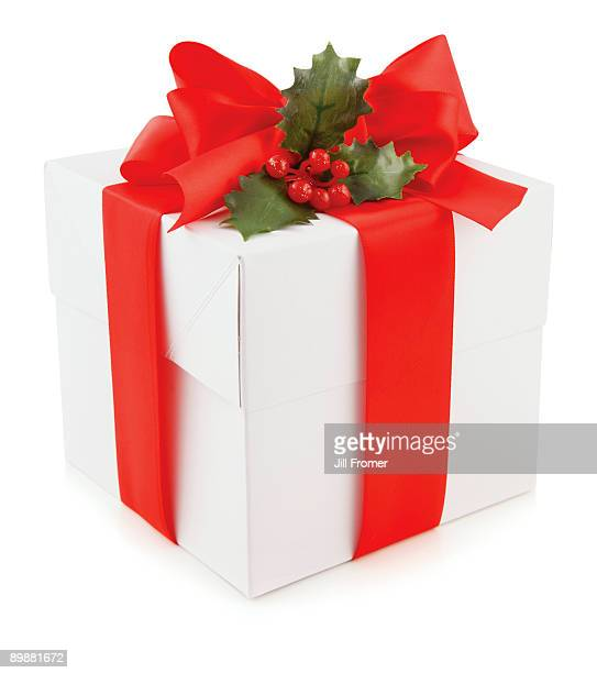 christmas gift on a white background - christmas background stock photos and pictures