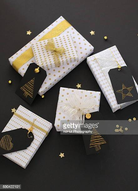 Christmas Gift packages on black background