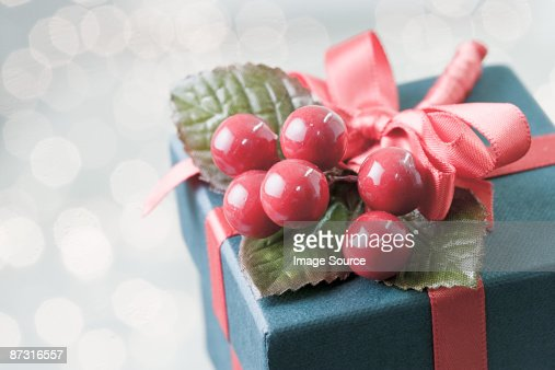 Christmas gift with silver ribbon and wrapping stock photo getty keywords negle Images