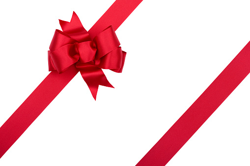 Christmas Gift Red Bow Isolated on White with Clipping Path 172915713