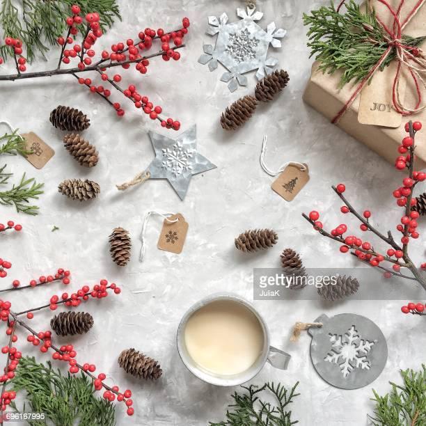 Christmas gift, tags, tea and decorations