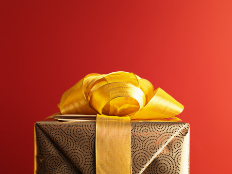 Christmas gift with gold ribbon - gettyimageskorea