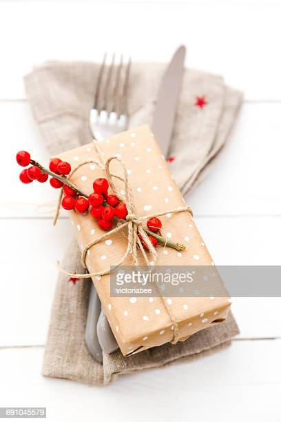 Christmas gift with napkin and cutlery