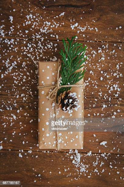 Christmas gift with pine cone, leaf and fake snow decoration
