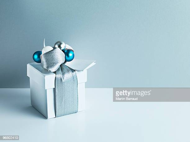 Christmas gift with silver ribbon