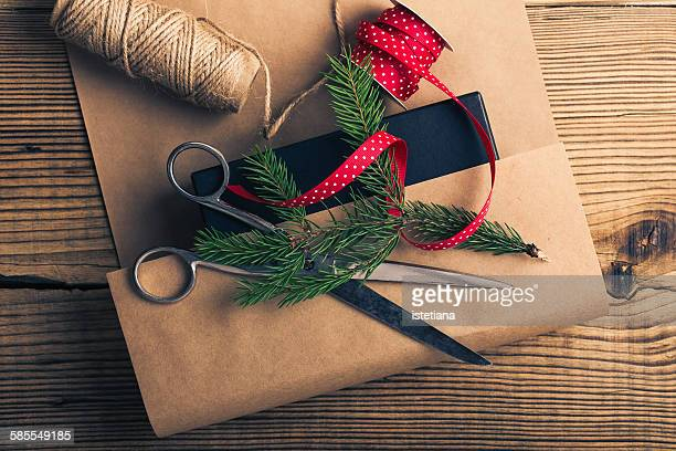 Christmas gift, wrapping craft paper, accessories