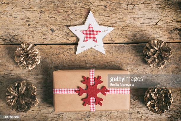 Christmas Gifts and Christmas decoration on table