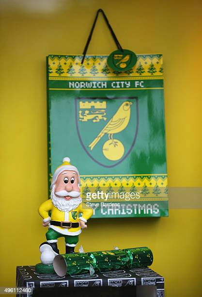 Christmas gifts are sold prior to the Barclays Premier League match between Norwich City and Swansea City at Carrow Road on November 7 2015 in...