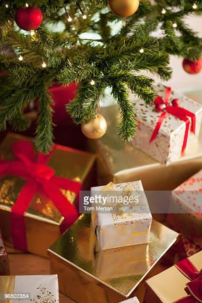 Christmas gifts beneath tree