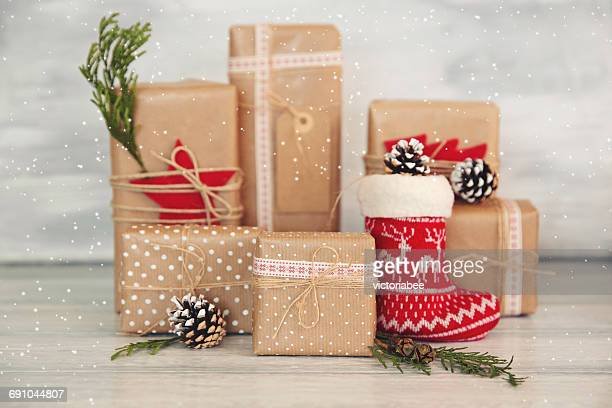 Christmas gifts, decorations and fake snow