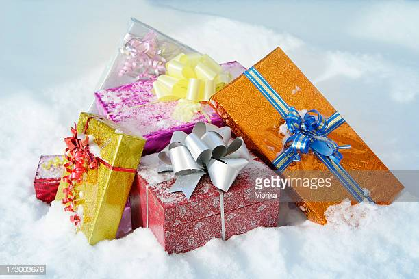 Christmas gifts in a snow