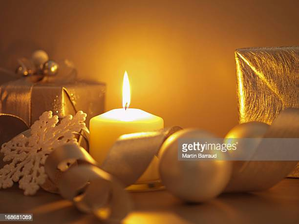 Christmas gifts, ornaments and candle
