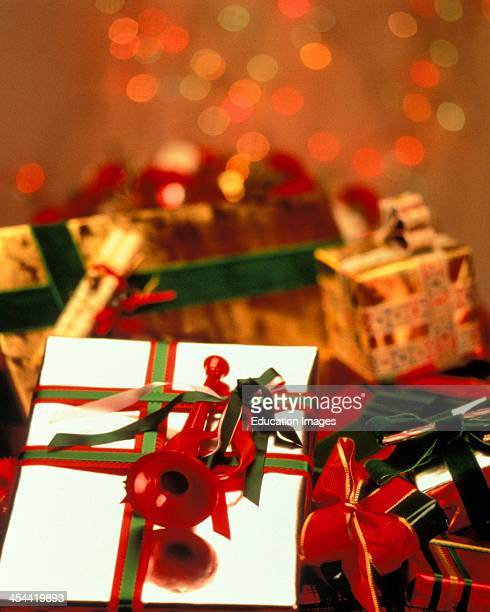 Christmas Gifts Wrapped With Ribbons