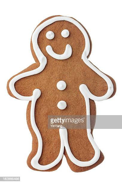 Christmas Gingerbread Man Cookie, Decorated, Frosted Dessert Isolated on White
