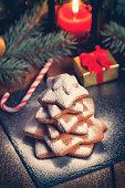 homemade christmas gingerbread star shape cookies