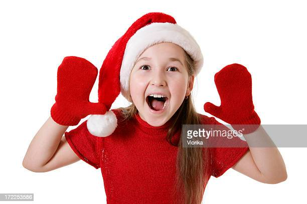 christmas girl - mitten stock pictures, royalty-free photos & images