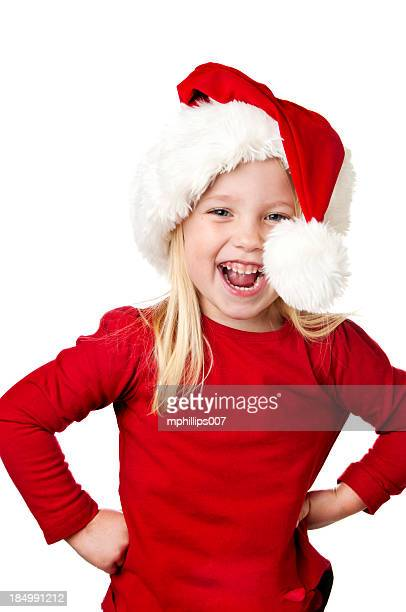 christmas girl - santa hat stock photos and pictures