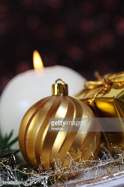 Christmas Golden Decoration with Bauble Candle and Present