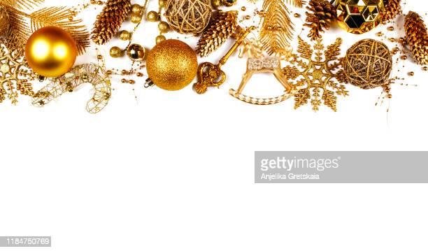 christmas golden ornaments on white background. christmas decoration. christmas card. - dekoration stock-fotos und bilder