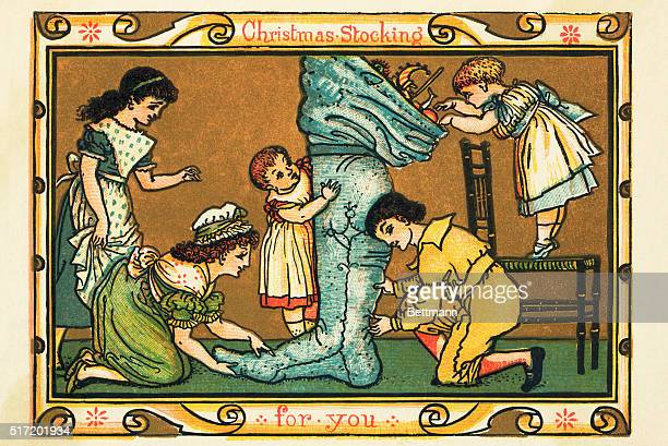 Christmas Greeting Card Illustration of children unpacking an enormous stocking full of toys while the governesses assist