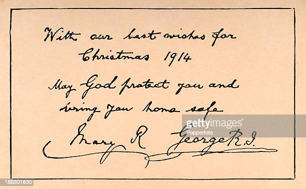 Christmas greetings over the signatures of King George V and Queen Mary sent to British Armed Forces fighting in World War One circa December 1914