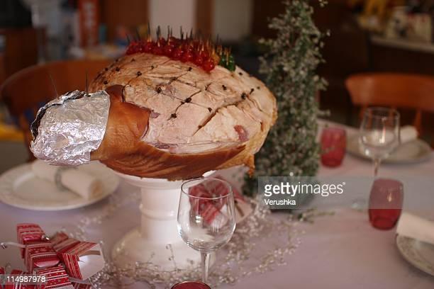 Christmas ham on table