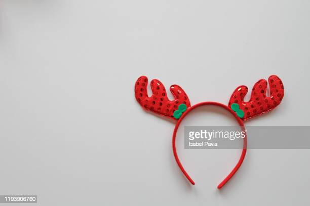 christmas headband on white background - headband stock pictures, royalty-free photos & images