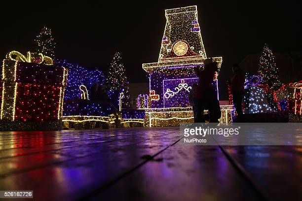 Christmas holiday decorations in the streets of Warsaw Polish on 18th December 2015 Christmas Eve is a mere six days away and for many across Poland...