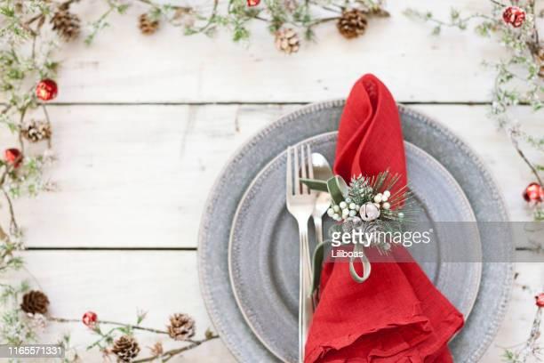 クリスマスホリデーダイニング - テーブルナプキン ストックフォトと画像