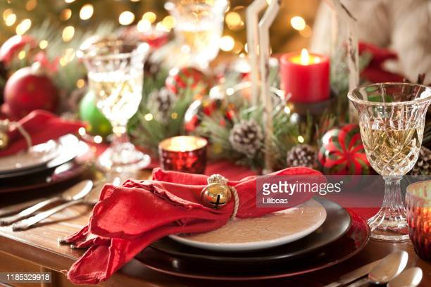 christmas holiday dining - christmas decore candle stock pictures, royalty-free photos & images