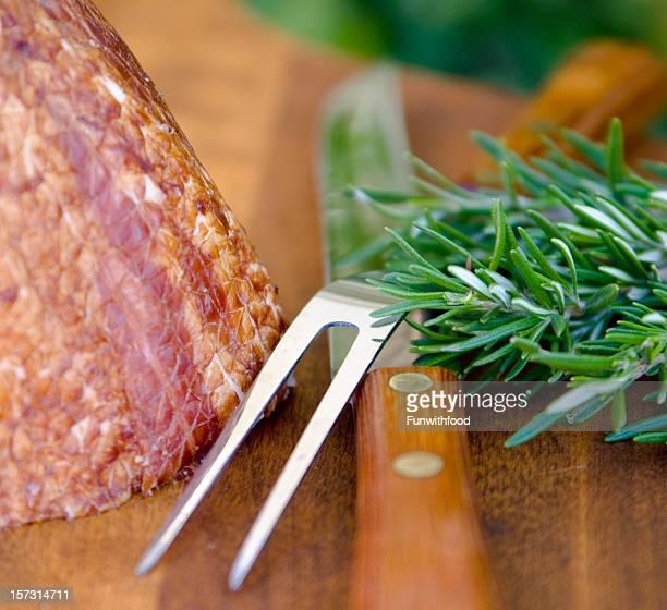 Christmas Holiday Food: Pork Dinner Meat & Easter Ham & Carving Set