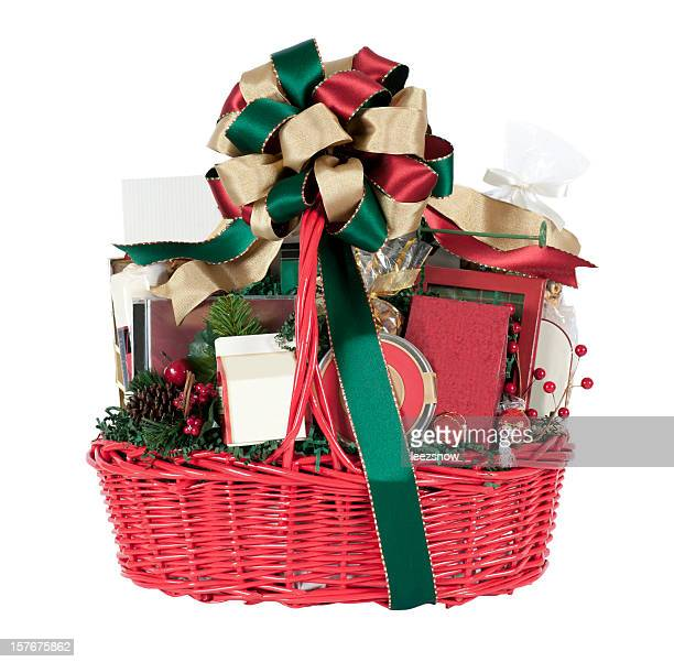 christmas holiday gift basket in red, green, and gold - basket stock photos and pictures