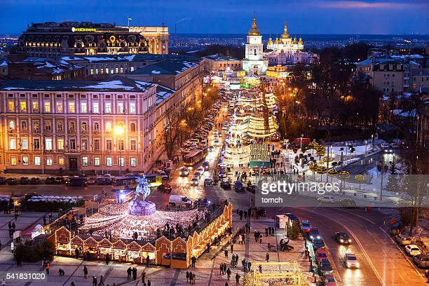 christmas holiday in the kyiv, ukraine - ukraine stock pictures, royalty-free photos & images