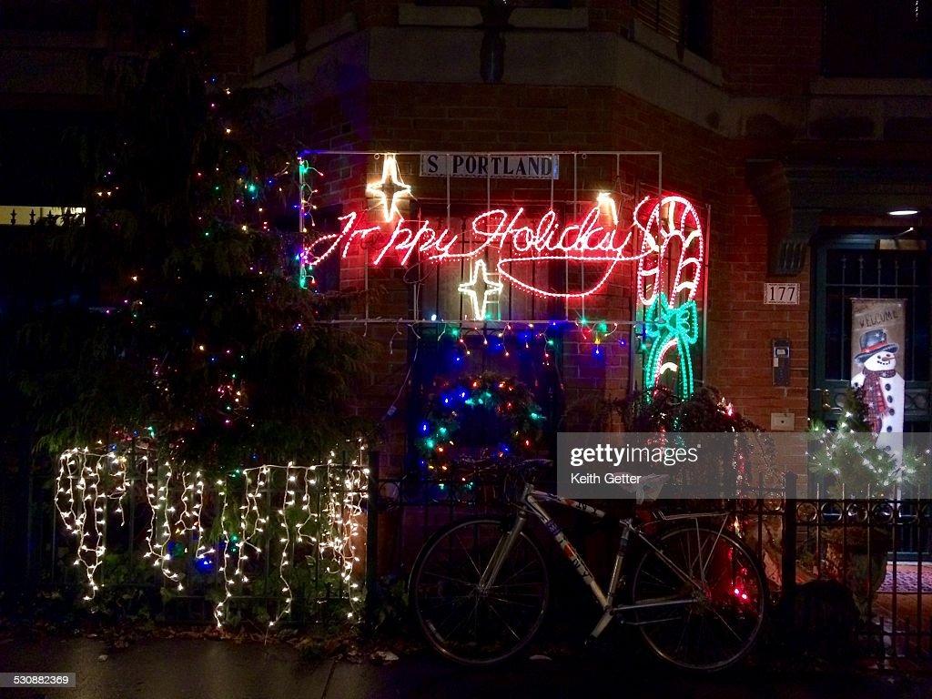 Christmas Holiday Lighting On A Brick Townhouse S
