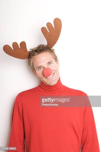 Christmas Holiday Reindeer Man Smiling with Red Nose