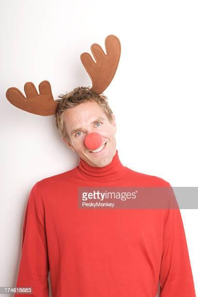 Feriado de Natal Rena Nariz Vermelho homem sorridente com