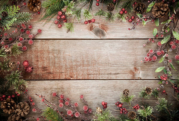 christmas holiday wreath garland background on old rustic wood - Rustic Christmas Background