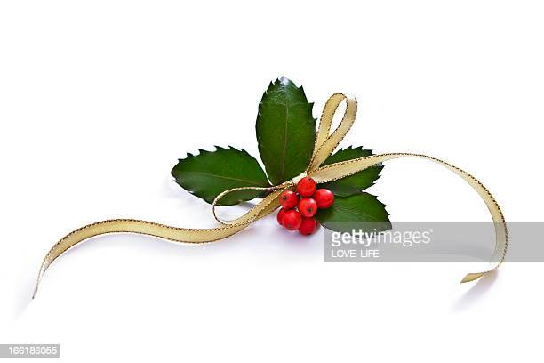 christmas holly - ribbon stock pictures, royalty-free photos & images