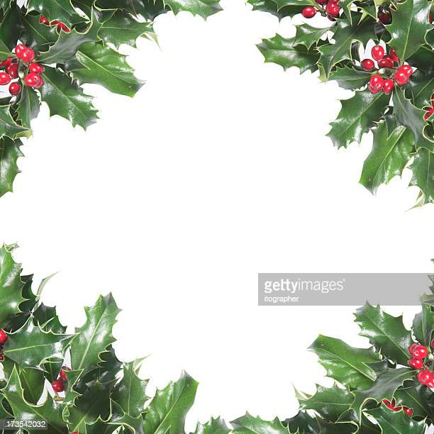 Christmas holly wreath bordered paper