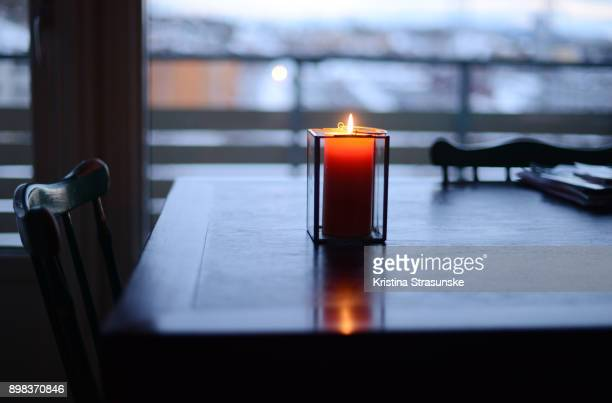 christmas home decor - candle of hope stock pictures, royalty-free photos & images