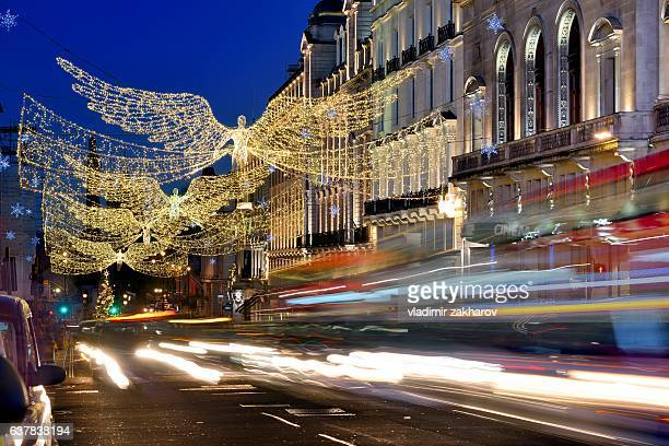 christmas illumination at regent street - 2017 stock pictures, royalty-free photos & images