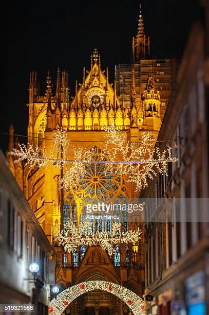 Christmas illumination of the city of Me France