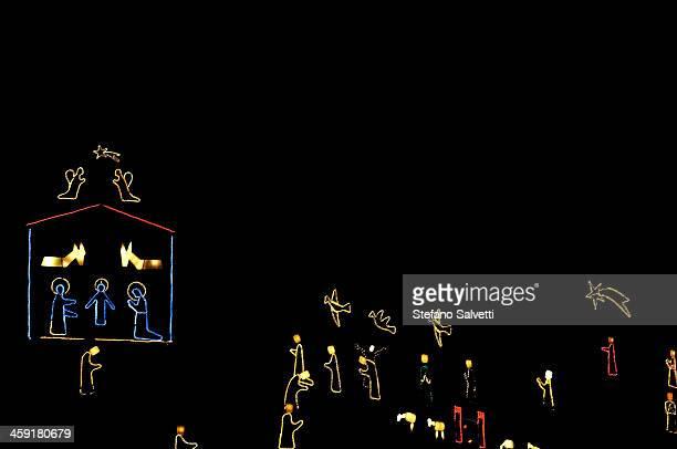 Christmas illuminations on a hill in Manarola
