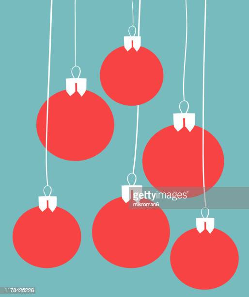 christmas illustration of christmas ornaments - christmas card - illustration stock pictures, royalty-free photos & images
