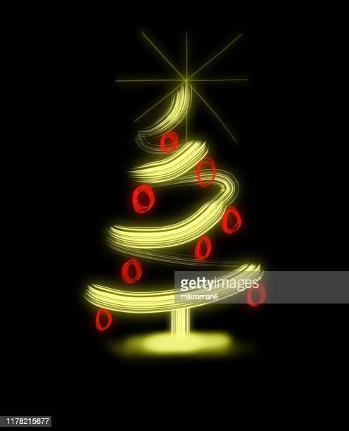 christmas illustration of christmas tree- christmas card - christmas vector stock photos and pictures